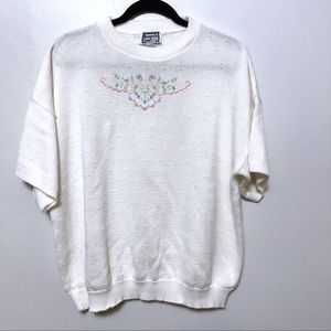 Vintage embroidered sweater short sleeve flower